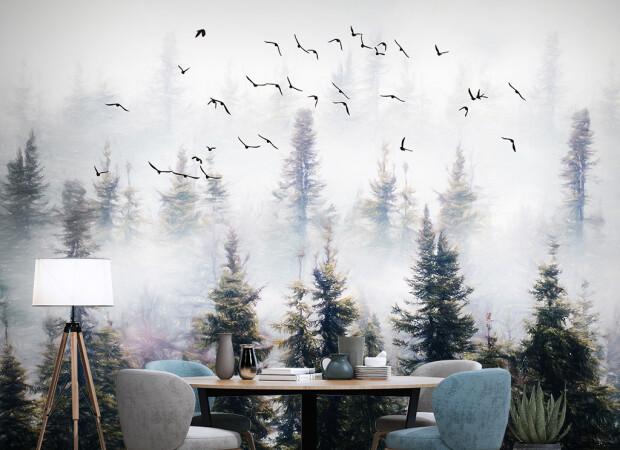 Птицы над туманным лесом