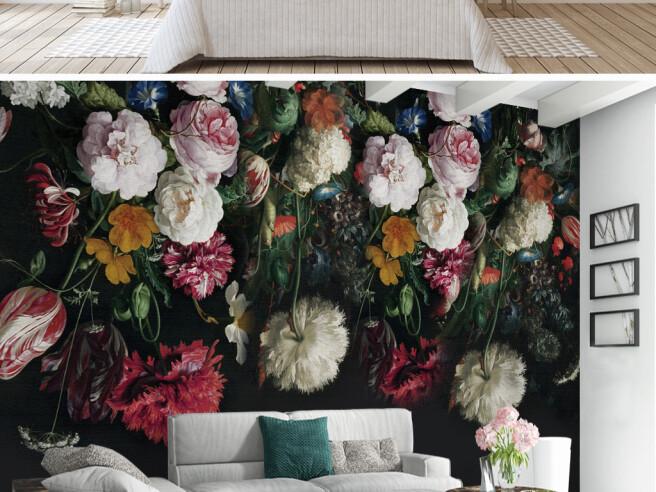 Фотообои Цветы на черном фоне