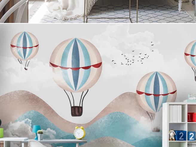 Фотообои Воздушные шары среди холмов