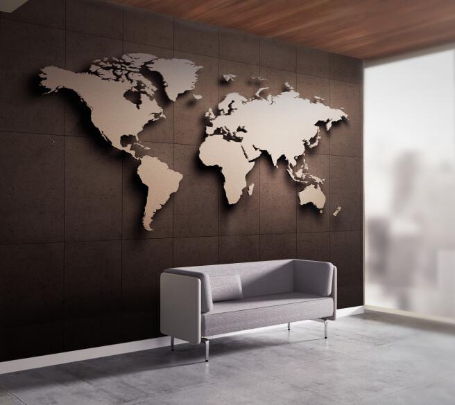 Фотообои 3д карта мира