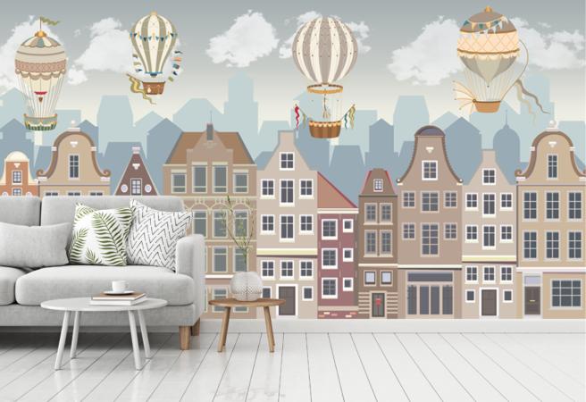 Фотообои город и воздушные шары