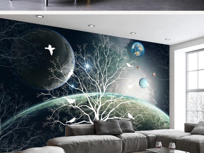Фотообои Белое дерево с птицами на фоне планет