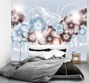 Фотообои цветы на серебре
