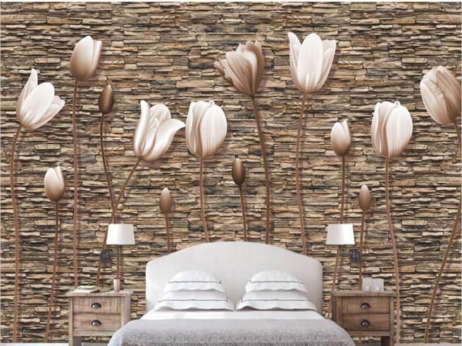 Фотообои Цветы на каменной стене