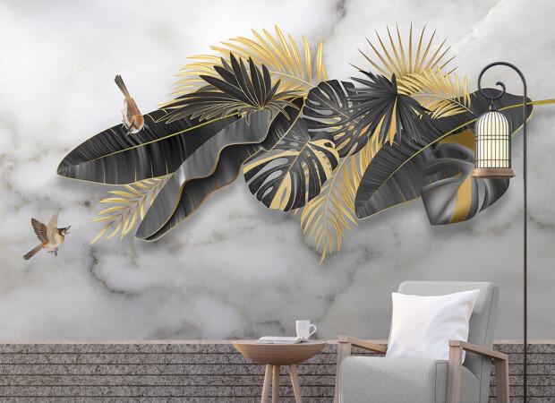 Птицы на черно-золотых листьях
