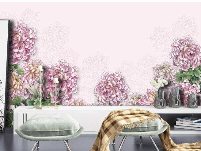 Фотообои Фиолетовые цветы на стене