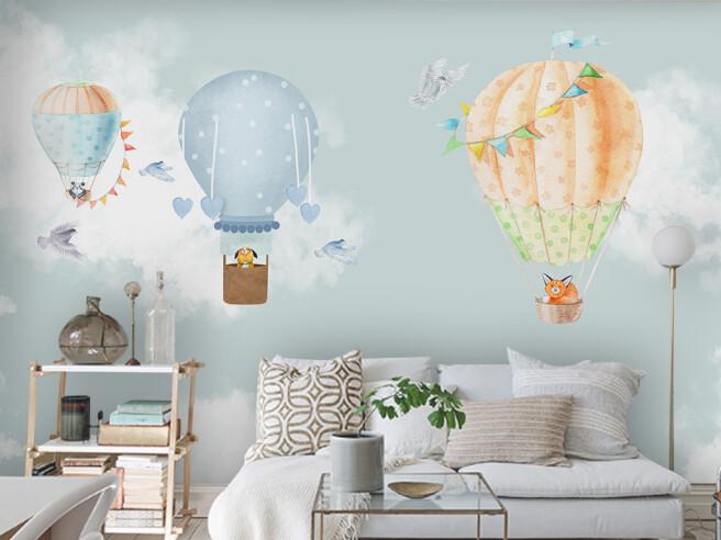 Собачка на голубом воздушном шаре