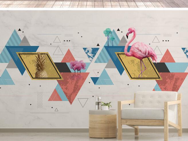 Фотообои Фламинго на треугольнике