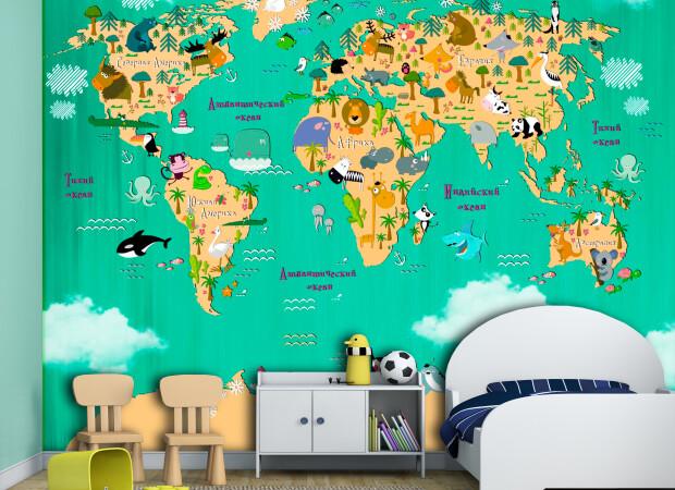 Яркая карта со зверями