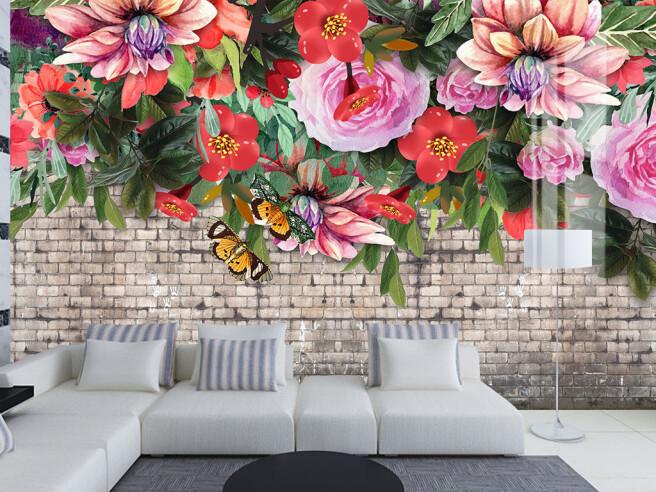 Фотообои Яркие цветы на кирпичной стене