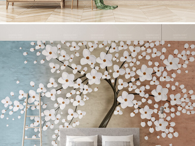 Белые цветы на дереве