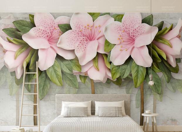 Рельефные розовые цветы