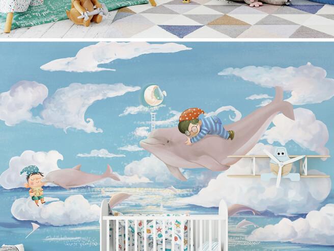 Фотообои Спящий мальчик на дельфине