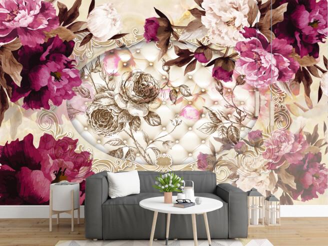 Фотообои Цветы на диванном фоне
