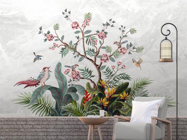 Дерево в цветах и птицы