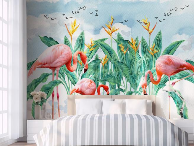Cтая птиц над фламинго