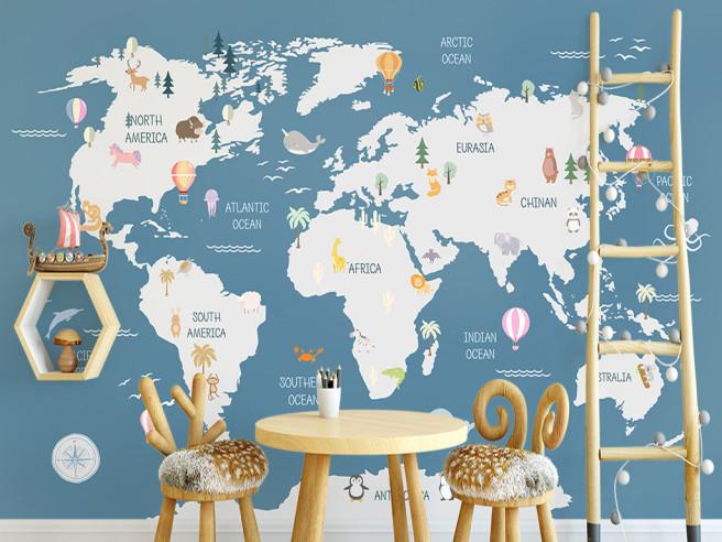 Фотообои Карта и воздушные шары