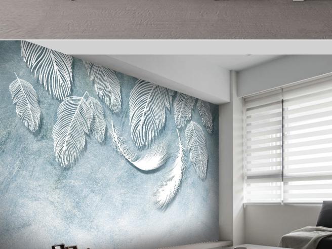 Фотообои Редкое перо на голубой стене