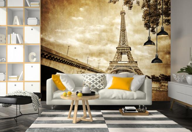 Фотообои мост и эйфелевая башня