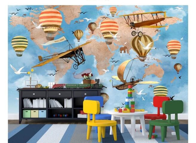 Фотообои Воздушный транспорт на фоне карты мира