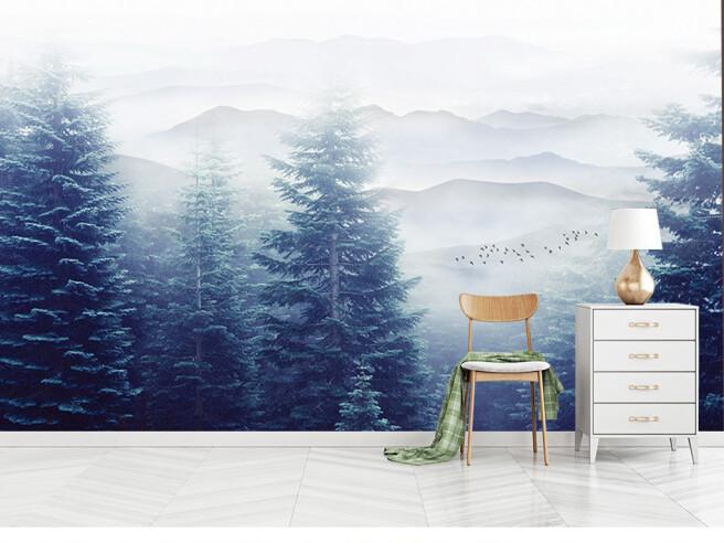 Фотообои Елки на фоне гор