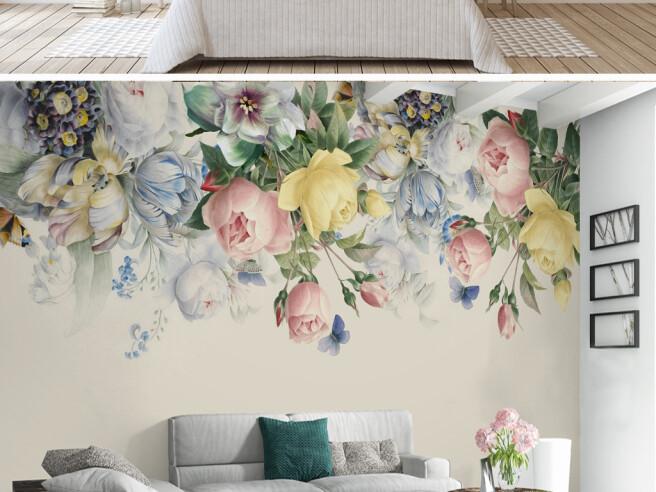 Фотообои Чайная роза и синие бабочки