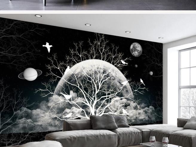Фотообои Белое дерево ночью