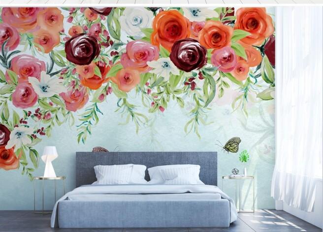 Рисованные алые розы