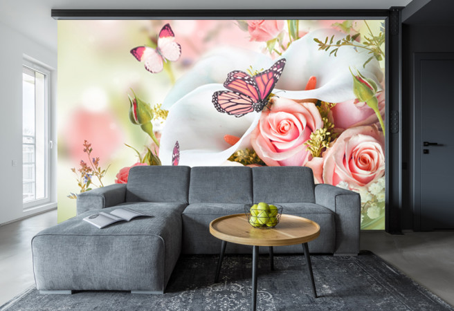 Фотообои калы и розы