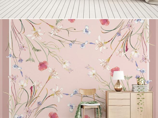 Полевые цветы на розовом фоне