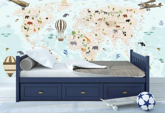 карта с животными и шарами