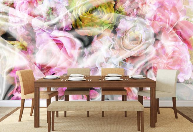 Фотообои розы в вуали