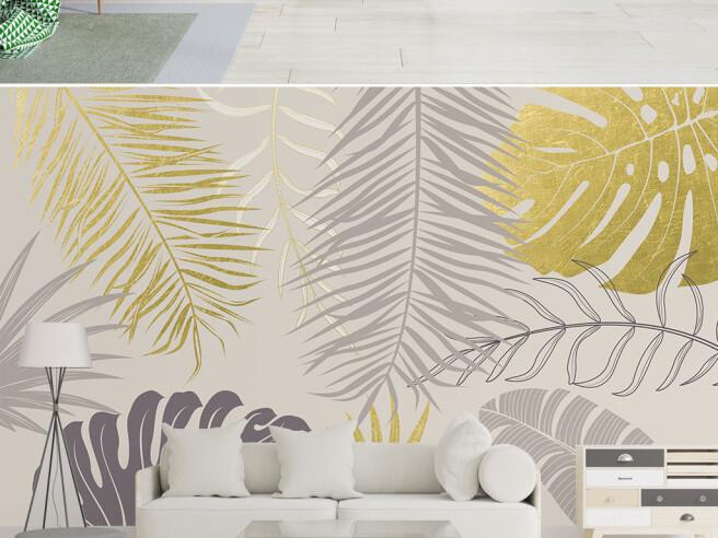 Фотообои Золотые и серые листья пальм