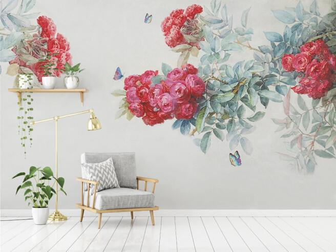 Фотообои Бабочки на алые розы