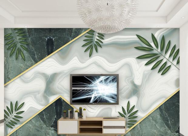 Листья пальм на мраморе
