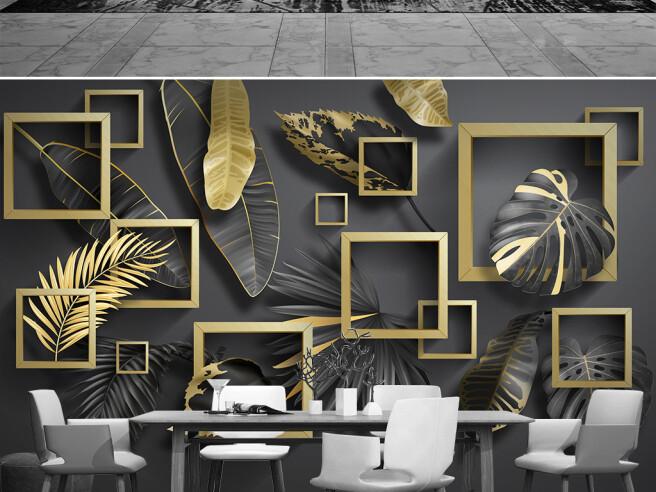 Фотообои Листья в золотых рамках