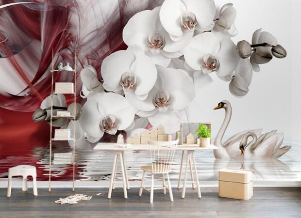 Орхидеи и лебеди