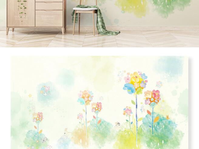 Яркие цветы и кролик