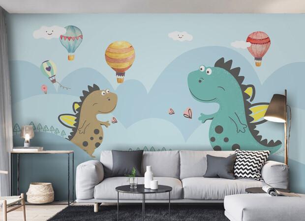 Влюбленные динозаврики и шарики