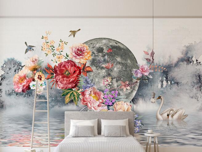 Фотообои Цветына фоне луны