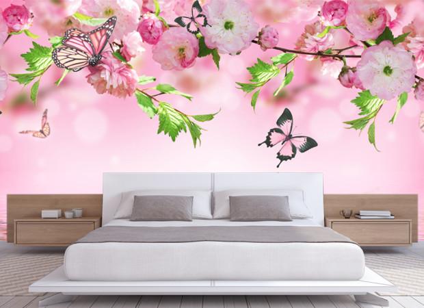 цветущие ветки и бабочки