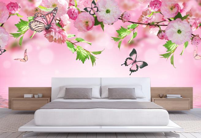Фотообои цветущие ветки и бабочки