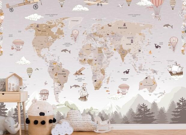 Карта с дельтапланами и воздушными шарами