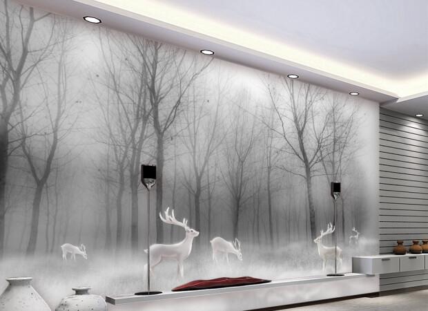 Белые олени в сером лесу