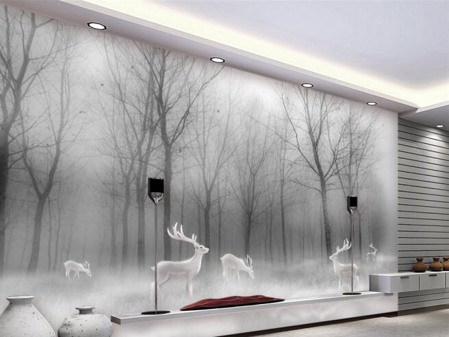 Фотообои Белые олени в сером лесу