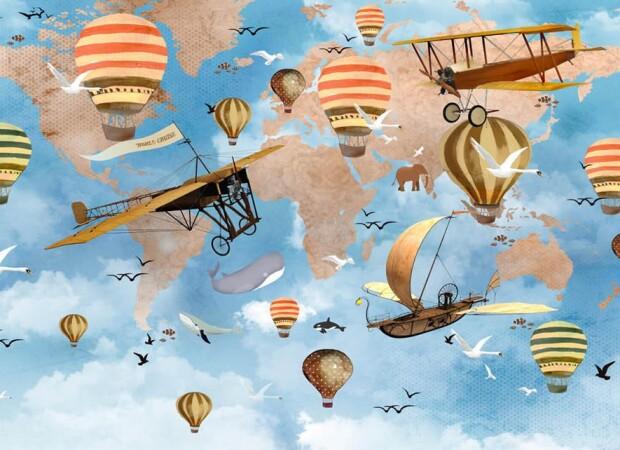 Воздушный транспорт на фоне карты мира