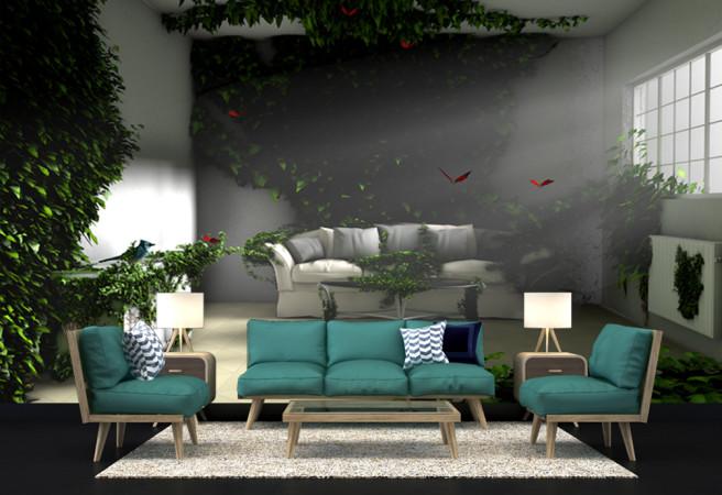 Фотообои расширяющая зеленая стена
