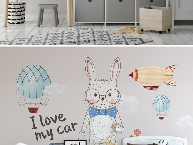 Фотообои заяц и дирижабль