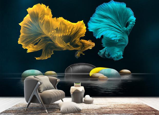 Желтая и голубая рыбки