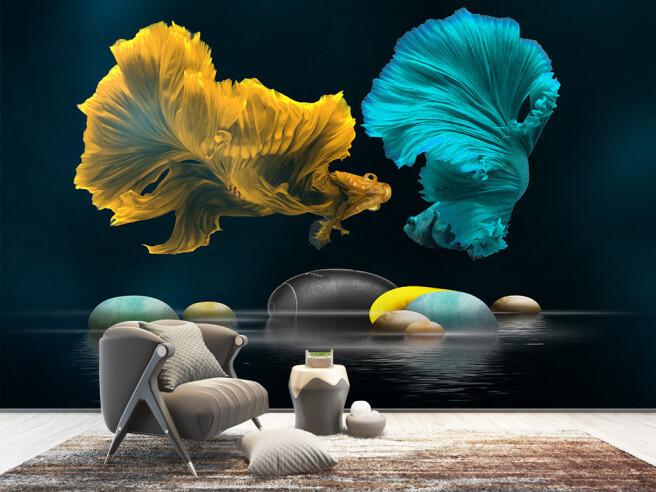 Фотообои Желтая и голубая рыбки